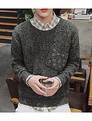 Для мужчин Повседневные Простое Обычный Пуловер Однотонный,Круглый вырез Длинный рукав Хлопок Вязаная одежда Весна Осень Средняя