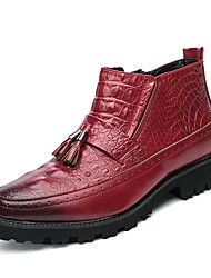 Men's Shoes Customized Materials Fall Winter Fashion Boots Boots Mid-Calf Boots Tassel For Office & Career Party & Evening Red Black