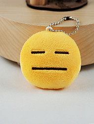 New Arrival Cute Emoji Face with Flat Eyes And Mouth Key Chain Plush Toy Gift Bag Pendant