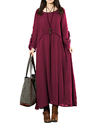 Women's Plus Size Casual/Daily Work Simple Loose Shift Dress,Solid Round Neck Maxi Long Sleeves Polyester All Seasons Low Rise