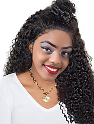 Women Human Hair Lace Wig Indian Remy Glueless Lace Front 150% Density With Baby Hair Deep Wave Wig Black Long For Black Women Virgin