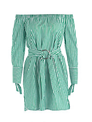 Women's Holiday Casual/Daily Cute Sheath Dress,Striped Boat Neck Knee-length Long Sleeves Cotton Fall Mid Rise Inelastic Thin