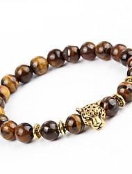 Homme Femme Bracelet Bracelets de rive Onyx Naturel Fait à la main Pierre Alliage Forme Ronde Léopard Bijoux Pour Soirée