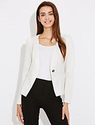 Damen Solide Einfach Lässig/Alltäglich Anzug,Hemdkragen Frühling Herbst Lange Ärmel Standard Polyester
