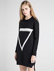 Для женщин На каждый день Простое Оболочка Трикотаж Платье Однотонный С принтом Контрастных цветов,Круглый вырез Средней длины Длинный