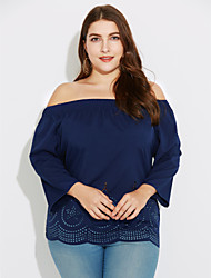 Women's Going out / Casual/Daily Sexy / Street chic Cut Out All Match Plus Size Spring / Fall T-shirtSolid Boat Neck Long Sleeve  Medium