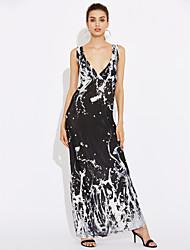 Women's Backless Holiday / Plus Size Boho Swing Dress,Check Strap Maxi Sleeveless Black Cotton / Polyester Summer