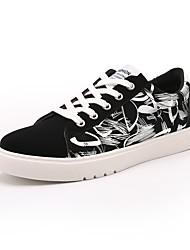 Damen Schuhe PU Frühling Herbst Komfort Sneakers Flacher Absatz Runde Zehe Schnürsenkel Für Normal Weiß Rot Blau