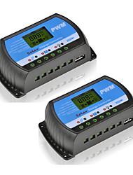 2pcs rtd-20a 12v 24v panneau solaire chargeur et régulateur de décharge lcd pwm régulateur solaire pour maison pv système mini chargeur de