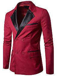 Для мужчин На каждый день Офис Весна Осень Блейзер Рубашечный воротник,Простой Секси Шинуазери (китайский стиль) Контрастных цветов