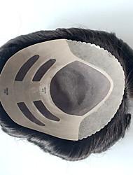 bem soldado mono mens toupees sistema de substituição de cabelo humano para homens cor natural 8x10