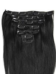 100% remy зажим в выдвижениях человеческих волос для полной головки 70grams / 100grams вес 7pcs / set шелковистые прямые virgin remy
