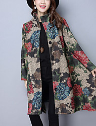 Women's Casual/Daily Chinoiserie Fall Winter Coat,Print Stand Long Sleeve Long Cotton