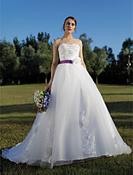 Ball Gown Sweetheart Cathedral Train Lace Wedding Dress with Beading Appliques Sash / Ribbon Flower by QQC Bridal