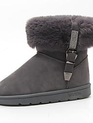 Damen Schuhe Stoff Herbst Winter Komfort Stiefel Flacher Absatz Booties / Stiefeletten Für Normal Schwarz Grau Braun