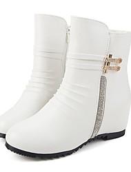 Women's Boots Comfort Combat Boots Fall Winter Leatherette Casual Dress Rhinestone Zipper Low Heel Black White 2in-2 3/4in