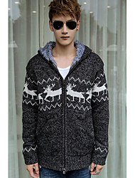 Men's Casual/Daily Regular Cardigan,Print Color Block Hooded Long Sleeves Others Spring Winter Medium Micro-elastic