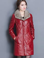 Для женщин На выход Большие размеры Зима Пальто с мехом Рубашечный воротник,Уличный стиль Однотонный Контрастных цветов Обычная Длинный
