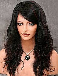 Women Synthetic Wigs Capless Medium Wavy Black/Dark Wine Side Part African American Wig With Bangs Natural Wig Costume Wig