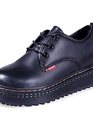Women's Oxfords Comfort Fall PU Casual Lace-up Low Heel Black/Red Black 2in-2 3/4in