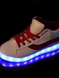 Damen Sneakers Komfort Neuheit Leuchtende LED-Schuhe Herbst Winter PU Normal Schnürsenkel Flacher Absatz Schwarz Rot Flach