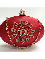New Women's Fashion Silks&Satins Formal Event/Party Wedding Evening Bag/Handbag/Clutch with Flower Diamonds Red Blue
