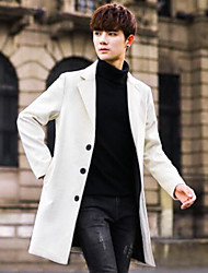 Men's Casual/Daily Simple Winter Coat,Solid Peaked Lapel Long Sleeve Long Others