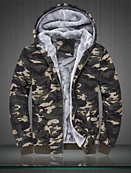Men's Padded Coat,Active Casual/Daily Camouflage-Polyester Cotton Gray Goose Down Long Sleeves