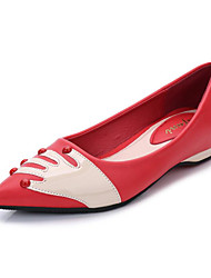 Women's Shoes Microfibre Summer Fall Comfort Flats Flat Heel Pointed Toe Applique For Casual Outdoor Red Black