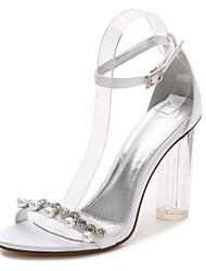 Feminino Sapatos Cetim Primavera Verão Plataforma Básica Tira no Tornozelo Shoe transparente Sapatos De Casamento Salto Grosso Heel