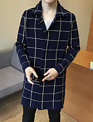 Men's Casual/Daily Simple Winter Trench Coat,Houndstooth Shirt Collar Long Sleeve Long Rayon Others