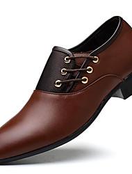 Для мужчин обувь Дерматин Осень Зима Формальная обувь Туфли на шнуровке Комбинация материалов Назначение Для вечеринки / ужина Черный