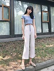 Mujer Simple Noche Casual/Diario Otoño T-Shirt Pantalón Trajes,Escote Redondo Un Color Manga Corta