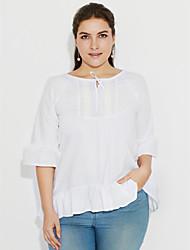 Mulheres Blusa Casual / Tamanhos Grandes Simples Verão,Sólido Branco / Preto Algodão Decote U Meia Manga Fina