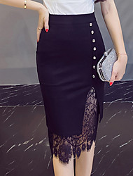 Women's Going out Knee-length Skirts,Vintage Simple Bodycon Lace Cut Out Solid All Seasons