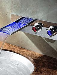 Moderne Vasque Jet pluie Couleurs changeantes with  Soupape céramique Deux poignées un trou for  Chrome , Robinet lavabo