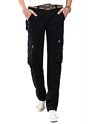 Men's Mid Rise Inelastic Overalls Pants,Simple Straight Solid