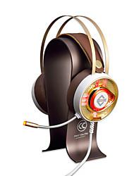 AJAZZ AX360Gold Bandana Com Fio Fones Dinâmico Aço Inoxidável Games Fone de ouvido Dual Drivers Isolamento de ruído Com Microfone Com