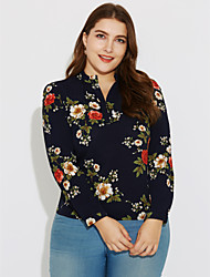 Going out Work Plus Size Street chic Spring Summer Blouse,Floral Stand Long Sleeve Polyester Thin