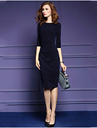 Women's Going out Casual/Daily Simple Street chic Sheath Dress,Solid Shirt Collar Knee-length Long Sleeves Polyester Fall Mid Rise