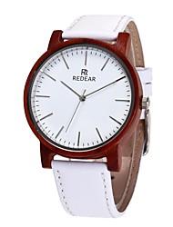 Homens Mulheres Relógio de Moda Relógio Madeira Japanês Quartzo de madeira Couro Legitimo Banda Pendente Casual Branco