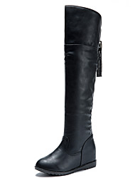 Women's Boots Comfort Winter PU Casual Flat Heel Black Flat
