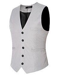 Men's Casual/Daily Simple Fall Winter VestSolid V Neck Sleeveless Regular Cotton