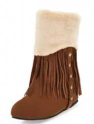 Damen Schuhe Kunstleder Herbst Winter Modische Stiefel Stiefel Keilabsatz Runde Zehe Booties / Stiefeletten Quaste Für Normal Grau Gelb