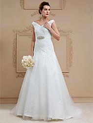 А-силуэт V-образный вырез Со шлейфом средней длины Кружева Тюль Свадебное платье с Кристаллы Ленты / Ленты от LAN TING BRIDE®