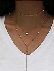 Жен. Слоистые ожерелья В форме сердца Сплав Мода Многослойный Бижутерия Назначение Повседневные
