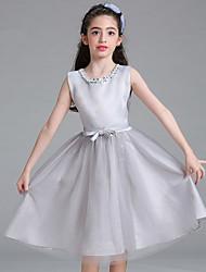 принцесса длиной до колена цветок девушка платье - атласная сетка без рукавов жемчужина шеи с жемчужиной by baihe