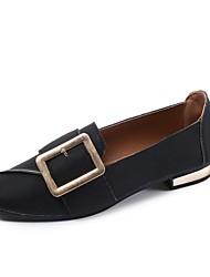 Feminino Sapatos Couro Ecológico Outono Conforto Rasos Rasteiro Ponta quadrada Para Casual Preto Cinzento Verde Tropa