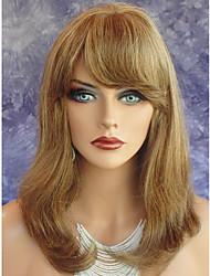 Mujer Pelucas sintéticas Sin Tapa Medio Liso castaño medio Peluca afroamericana Con flequillo Peluca de celebridades Peluca de Halloween