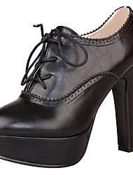 Damen Schuhe PU Frühling Sommer Pumps Modische Stiefel Stiefel Blockabsatz Plateau Spitze Zehe Schnürsenkel Für Normal Weiß Schwarz Braun